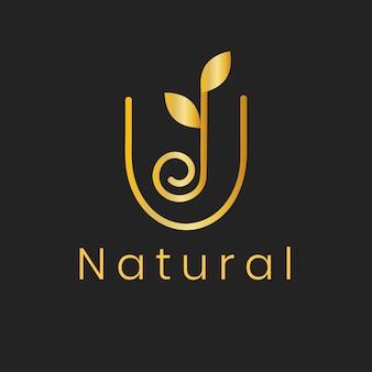 Modèle de logo de spa de feuille d'or, vecteur de conception de nature chic