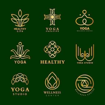 Modèle de logo de spa d'or, conception de luxe de bien-être pour l'ensemble de vecteurs d'affaires de santé et de bien-être