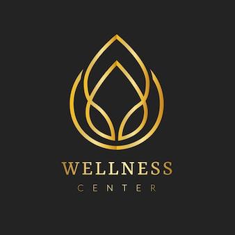 Modèle de logo de spa d'or, ensemble de vecteurs de conception de marque d'entreprise de santé et de bien-être esthétiques