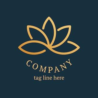 Modèle de logo de spa en or, vecteur de conception de marque d'entreprise de santé et de bien-être esthétique