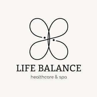 Modèle de logo de spa, vecteur de conception de marque d'entreprise de santé et de bien-être, texte d'équilibre de vie
