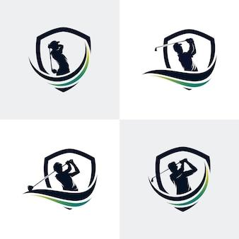 Modèle de logo de sport de golf