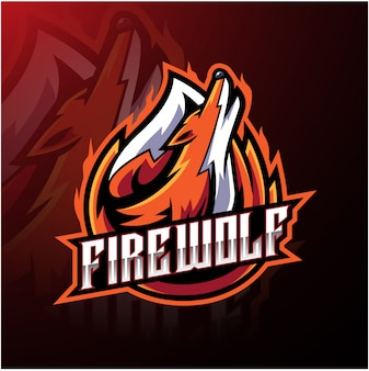 Modèle de logo sport loup incendie