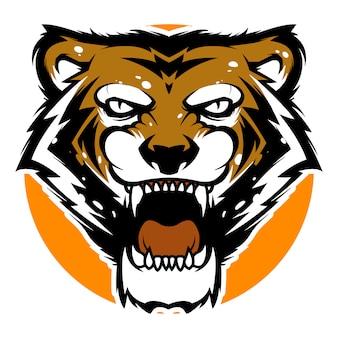 Modèle de logo sport mascotte tête de tigre