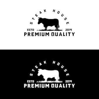 Modèle de logo steak house