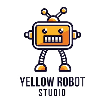 Modèle de logo de studio de robot jaune