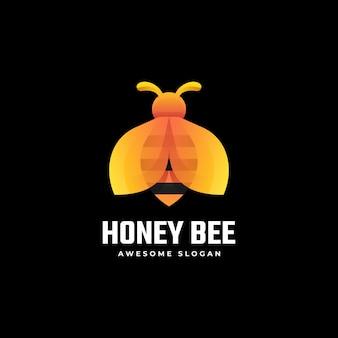 Modèle de logo de style coloré dégradé abeille