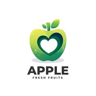 Modèle de logo de style coloré dégradé apple