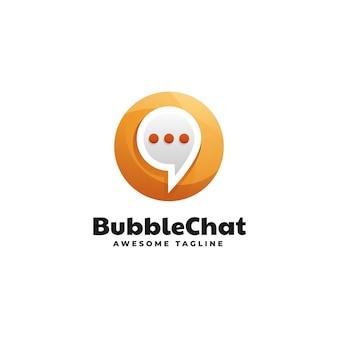 Modèle de logo de style coloré dégradé bubble chat