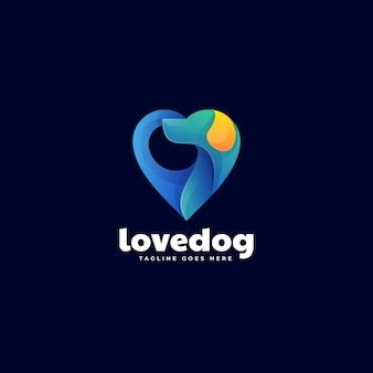 Modèle de logo de style coloré dégradé de chien d'amour.