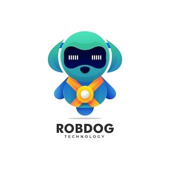 Modèle de logo de style coloré dégradé de chien robot