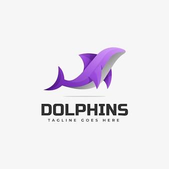 Modèle de logo de style coloré dégradé de dauphins