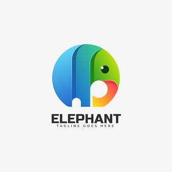 Modèle de logo de style coloré dégradé éléphant