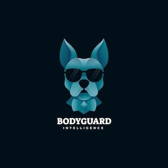 Modèle de logo de style coloré dégradé de garde du corps de chien