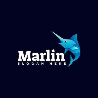 Modèle de logo de style coloré dégradé marlin