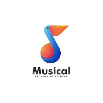 Modèle de logo de style coloré dégradé musical