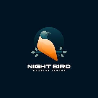 Modèle de logo de style coloré dégradé d'oiseau de nuit
