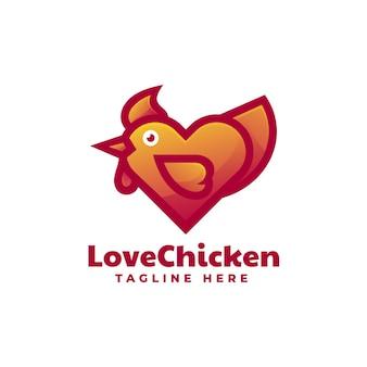 Modèle de logo de style coloré dégradé de poulet d'amour.