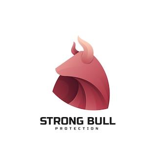 Modèle de logo de style coloré dégradé de taureau fort