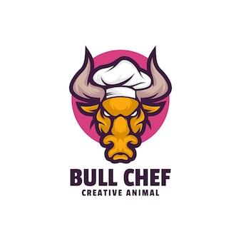 Modèle de logo de style dessin animé bull chef mascotte