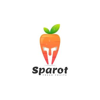 Modèle de logo de style double sens de carotte spartiate
