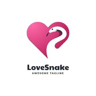 Modèle de logo de style d'espace négatif love snake.