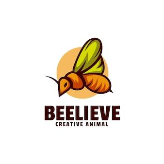 Modèle de logo de style mascotte simple abeille