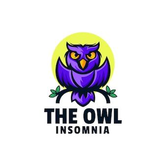 Modèle de logo de style mascotte simple chouette insomnie