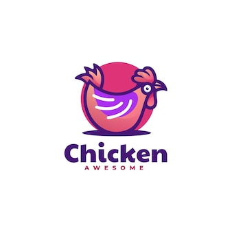 Modèle de logo de style mascotte simple poulet.