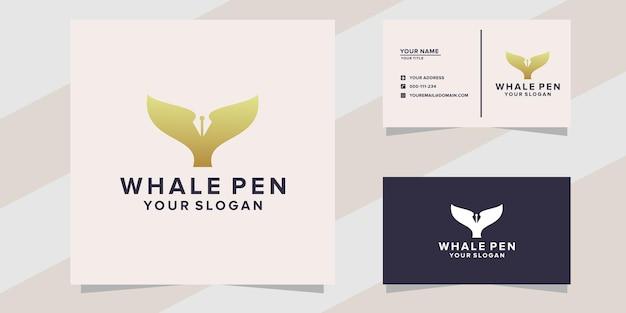 Modèle de logo de stylo de baleine