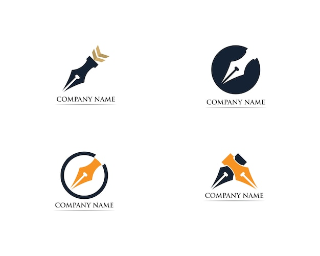 Modèle de logo stylo écrivain