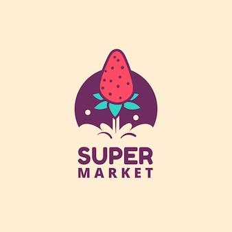 Modèle de logo de supermarché avec fraise