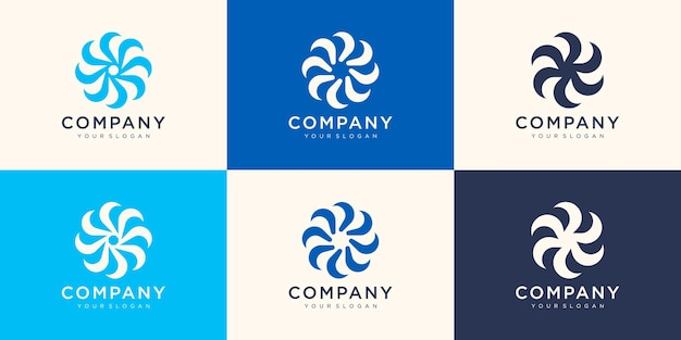 Modèle de logo swoosh spinning whirl.