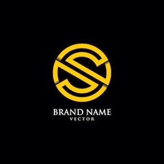 Modèle de logo symbole ligne art monogramme s