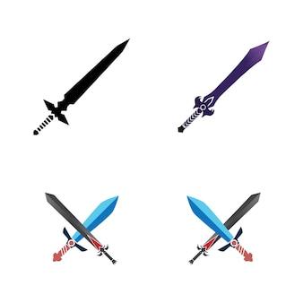 Modèle De Logo De Symbole De Vecteur D'élément De Jeu D'épée Vecteur Premium