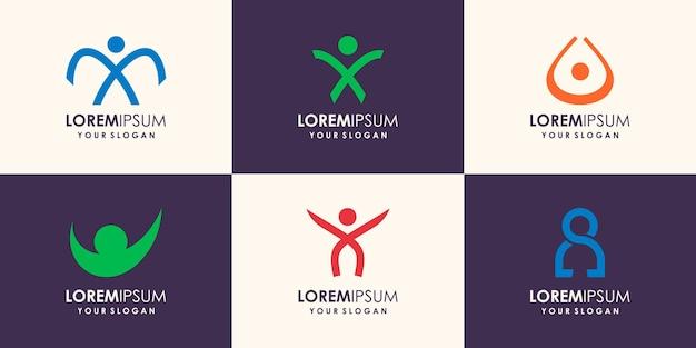 Modèle de logo et de symboles de soins de personnes de succès de santé