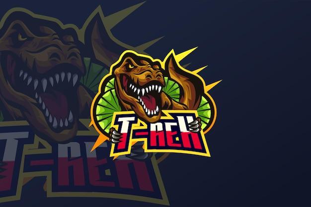 Modèle de logo t-rex-esport