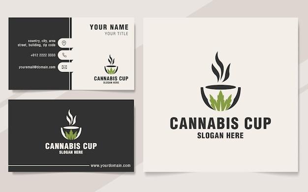 Modèle de logo de tasse de cannabis sur le style monogramme