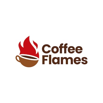 Modèle de logo de tasse de haricots de torréfaction torréfiés au café chaud de flamme de feu