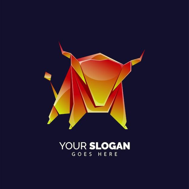 Modèle de logo de taureau fort dans un style moderne