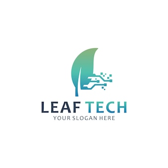 Modèle de logo tech feuille