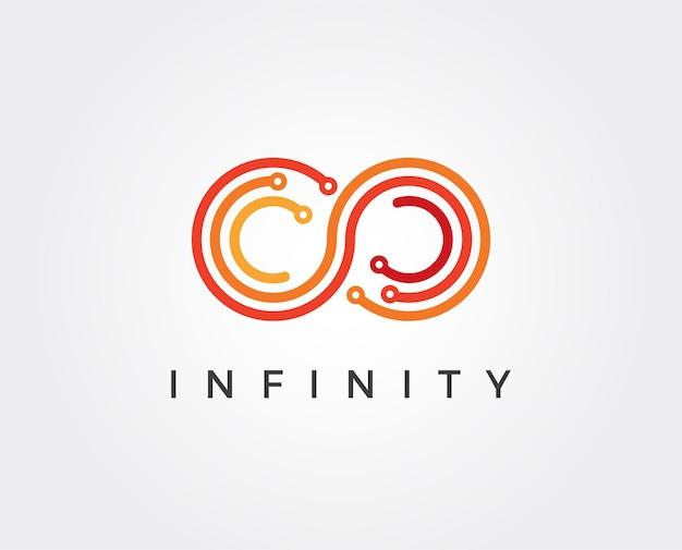 Modèle de logo tech infini minimal