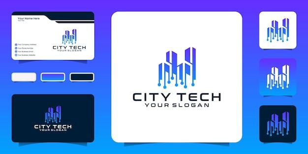 Modèle de logo tech ville et carte de visite