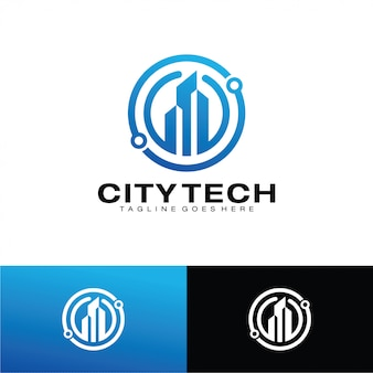 Modèle de logo tech ville