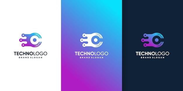 Modèle de logo de technologie abstraite avec les initiales c vecteur premium