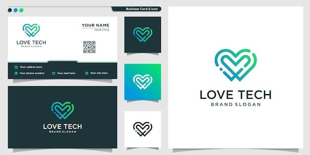 Modèle de logo de technologie d'amour avec un concept moderne créatif