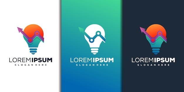 Modèle de logo de technologie d'ampoule moderne