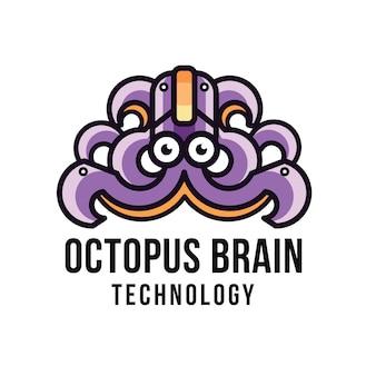 Modèle de logo de technologie cérébrale octopus