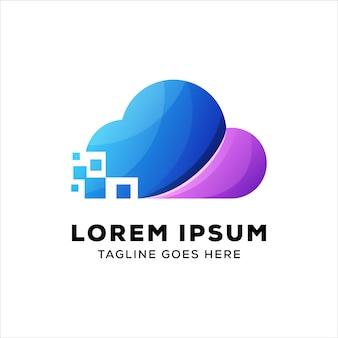 Modèle de logo de technologie cloud