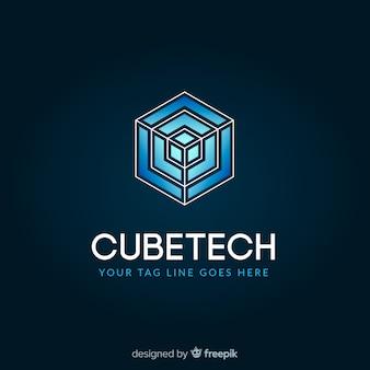 Modèle de logo de technologie avec des formes abstraites
